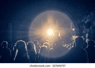 crowd at a concert in a vintage light, noise added