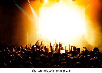 The crowd during concert at the club