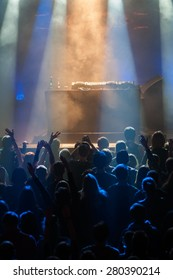 The crowd during a performance dj in a nightclub