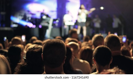 Crowd enjoying concert dancing and jumping, large group celebrating new year holiday, party background fun concept. Public concert, no ticketing event