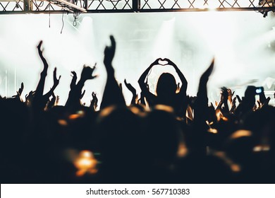 The crowd of fans at concerts. Hands fans.  Russia, St. Petersburg