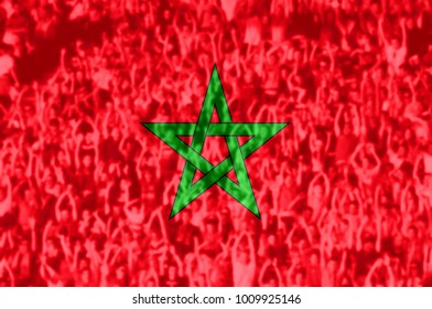 Crowd of football, soccer fans with raised arms with blending Morocco flag