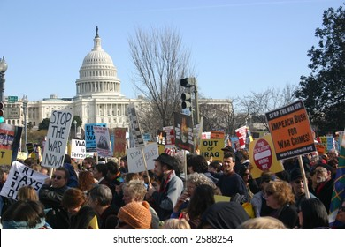 Crowd in front of capitol building at anti war rally on the National Mall, Washington, DC, Saturday, January 27, 2007.