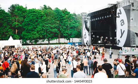 Crowd in front of the stage at Sideways festival. Helsinki, Finland - 6-8 June 2019,  Helsinki Ice Hal.