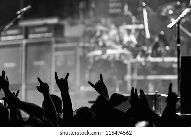 Crowd going crazy and putting up the metal horns at a rock concert
