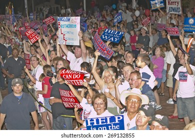 Crowd of Kerry Campaign supporters  with signs, Winslow, AZ