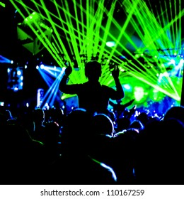 Crowd Lazer Lights Silhouette