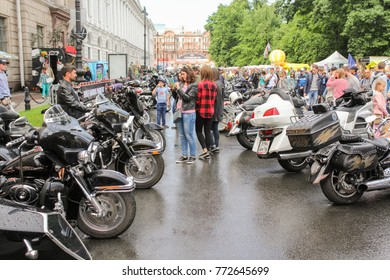 A crowd of motorcycles and people. St. Petersburg, Russia - 5 August, 2017. The annual Harley-Davidson Festival is held in the center of St. Petersburg.
