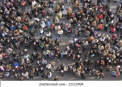 Crowd of people from above