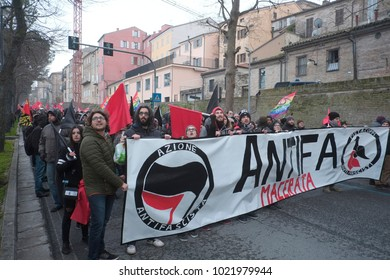 The crowd of the people arrived in Macerata to march against fashism after the the shooting against African people. The antifa bloc. Macerata (I) 2018/Feb/10
