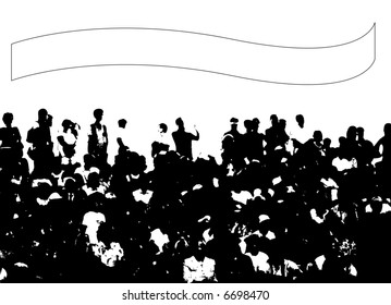 crowd of people and banner