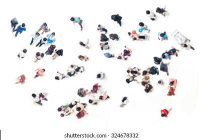 Crowd of people blurred on white  for background from top view , bird eye view
