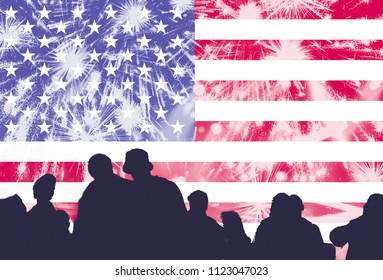 Crowd of people celebrating 4th of July, American Independence day. Fireworks and the flag of United States blending
