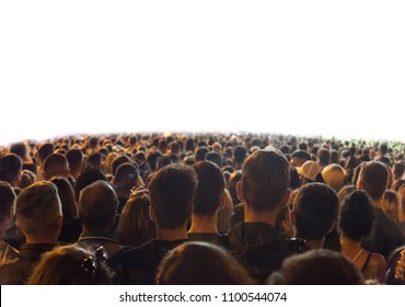 crowd of people at a concert isolated on white background