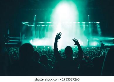 crowd of people dancing in concert
