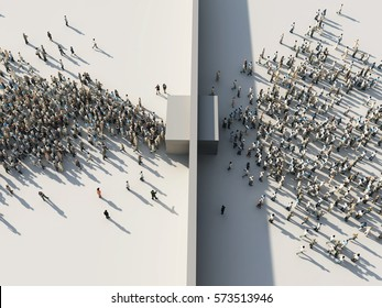 crowd of people passing through the gates, 3d illustration