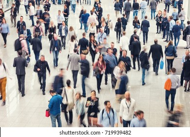 Crowd of people in a shopping center