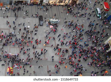 Crowd of people in a square - view from above