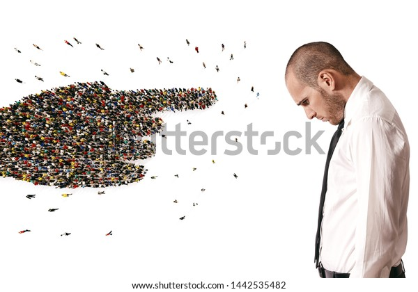 Crowd of people united forming a hand pointing a sad man. 3D Rendering