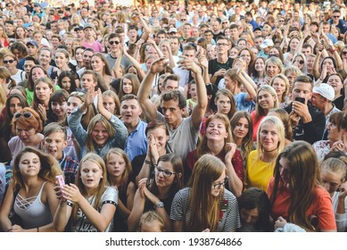 A crowd of people are waiting for the start of the concert. Rezekne - Latvia, 2018