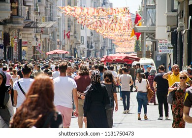 Crowd of people walking at istiklal street in Beyoglu, istanbul, July 10 2018