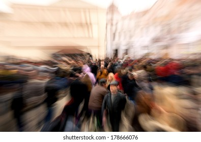 Crowd of people with zoom effect