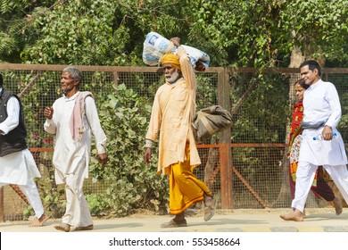 crowd pilgrims go on Govardhan Parikrama Marg. India Govardhan, November 2016