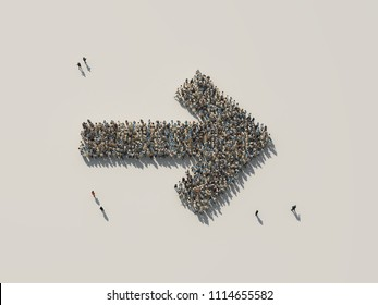 crowd as right arrow, 3d illustration