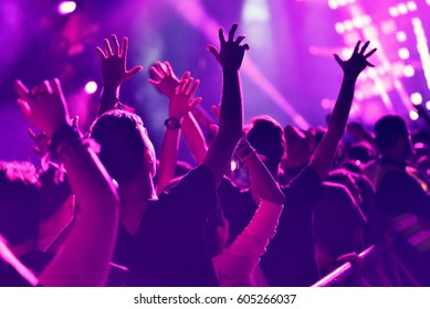 Crowd rocking during a concert with raised arms. Toned image