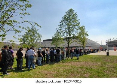Crowd in a row wait tiketing for music event at PalaIsozaki Alpitour circa April 2015 Turin Italy