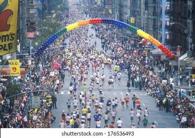 Crowd of runners crossing 1st Avenue/ 59th Street bridge, NY, NY City Marathon