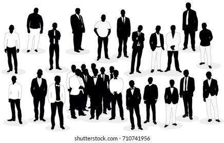 Crowd of silhouettes of men business  isolated