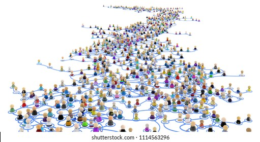 Crowd of small symbolic 3d figures linked by lines, complex layered system far distance, over white, horizontal