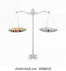 Crowd of small symbolic 3d figures on scales, isolated