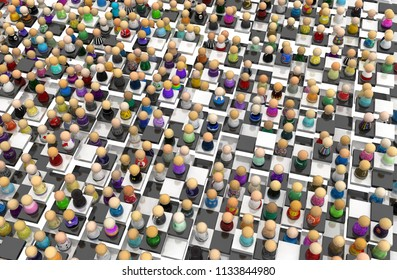 Crowd of small symbolic figures, chessboard tiles uneven, 3d illustration, horizontal background
