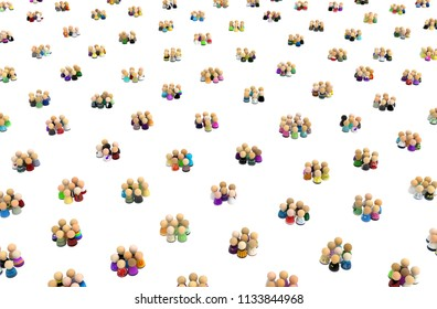 Crowd of small symbolic figures in huddles, 3d illustration, horizontal background, over white, isolated