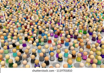 Crowd of small symbolic figures, pitfalls amidst, 3d illustration, horizontal background