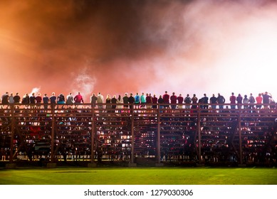 Crowd of spectators on stadium at a sporting event, Sport fans support, concept photo