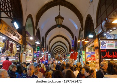 Crowd of tourists in the indoor Egyptian Spice Bazaar Istanbul, Turkey - November 4, 2012: