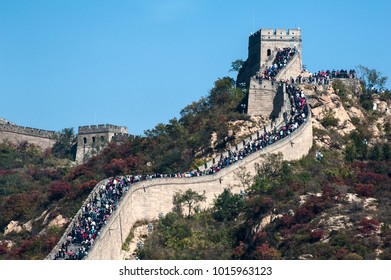 Crowd tourists visit Badaling Great Wall in autumn