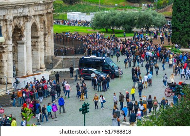 Crowd of toursits waiting for entrance to the world famous Colosseum in Rome - ROME / ITALY, NOVEMBER 6, 2016