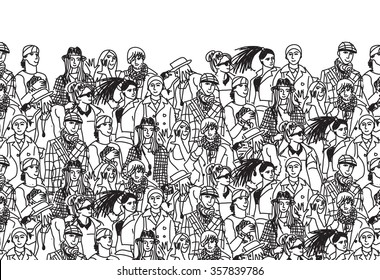 Crowd of trendy people black and white. Empty place for your text. Monochrome  illustration.
