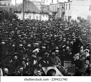 Crowd for waiting for presidential candidate William Taft's (1857-1930) whistle-stop campaign train in Grand Forks, North Dakota in 1908.