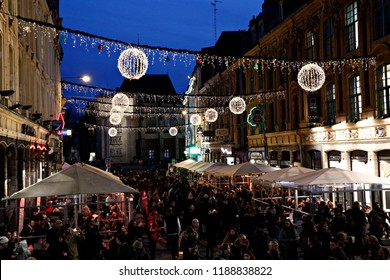 Crowd walk in Christmas Market in Lille, France on Nov. 19, 2017.
