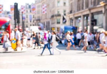 Crowd walking in the City. Blurred image for background. London, UK