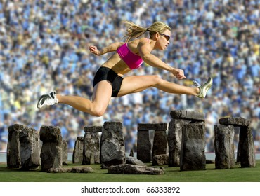 Crowd watches an athlete hurdle over Stonehenge.