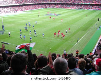 Crowd watching the rugby between Wales & Italy at the Millennium Stadium