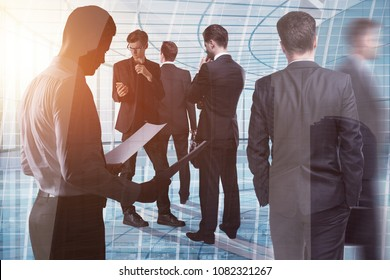 Crowd of young european businesspeople standing in modern glass office interior. Toned image. Meeting, teamwork and conference concept. Double exposure