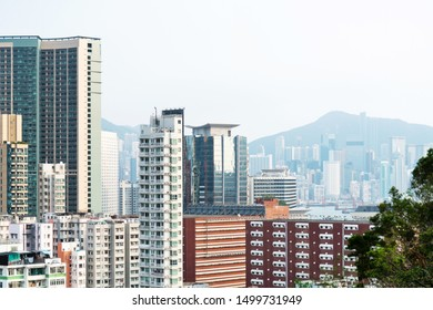 Crowded apartment buildings in Hong Kong.