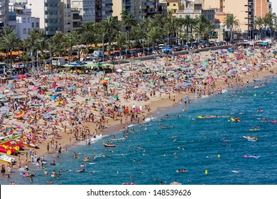 Crowded beach at Lloret de Mar in Spain